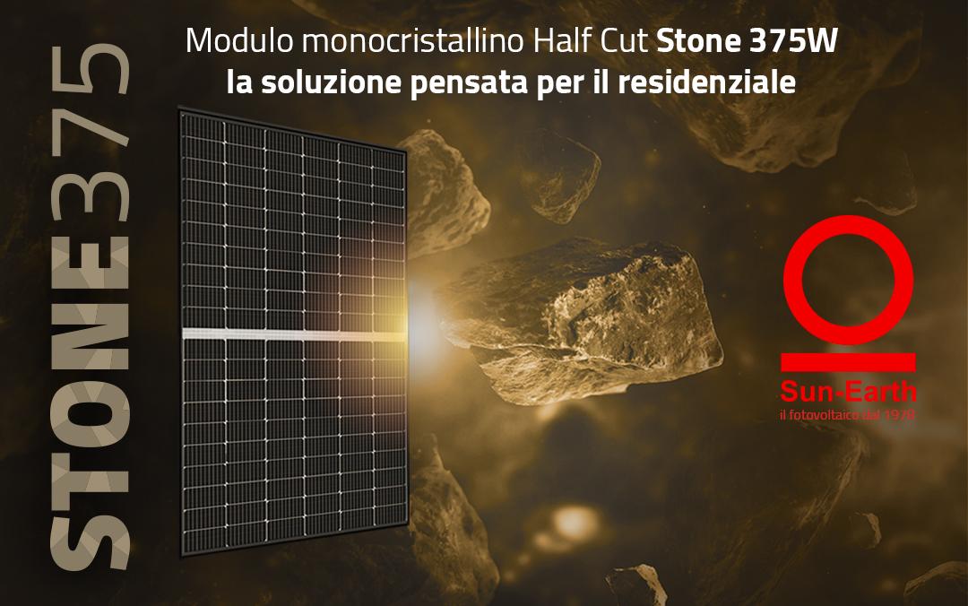 MODULO STONE 375W Half-Cut con tecnologia PERC. La soluzione perfetta per il residenziale: bastano 8 pannelli per sviluppare 3kW, potenza ideale per una famiglia di 4 persone
